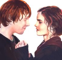 Ron and Hermione by Aemyle