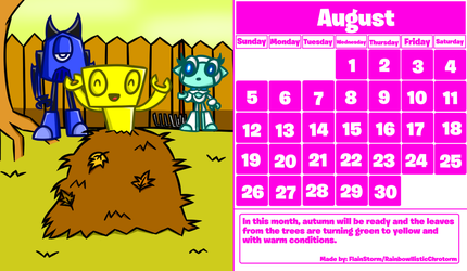 MxlsOC: August Calendar 2018 by FlainStorm