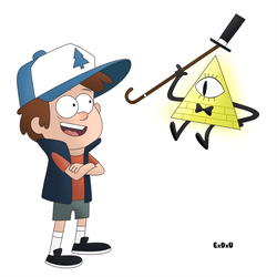 Dipper Pines and Bill Cipher  ( Gravity Falls ) by EduardoGAP