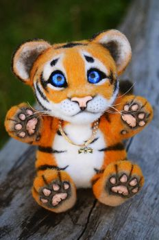 Tiger Needle Felted Charlie by Lyntoys