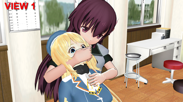 Atago is suffocated by Kisaragi. animation! by gamma-alpha