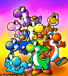 Yoshi and his friends! by Enricthepenguin92