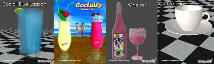 Drinks for XNALara by Ola (Bubblecloud) by BubbleCloud