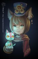 Doodle: steampunk girl and light cat by kongyi