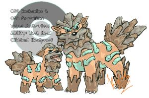 Rock/Steel Arcanine and Growlithe by insanitycookie333