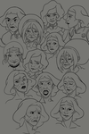 Lin Beifong and other Korra characters face study by Nekhuro