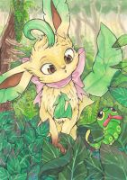 Leafeon and Caterpie Commission by karookachoo