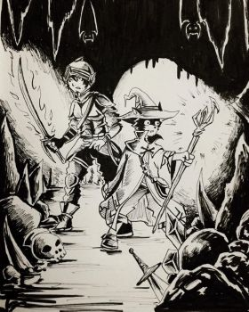 Day 19: Caverns - Inktober 2017 by Jhincx-Faust