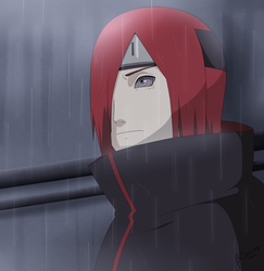 Nagato - Standing in the rain by Anicrystal