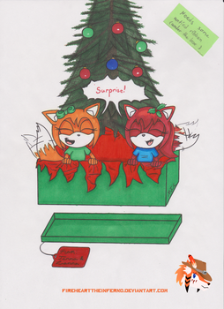 Jenna and Lianna's Christmas - Colored WIP by FireheartTheInferno