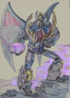 Deathsaurus with energon cube by darefi