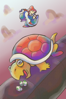 Yoshi vs Hookbill the Koopa by Paleona