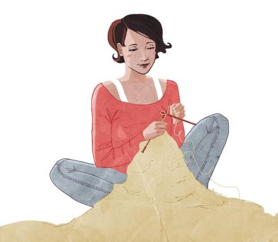 Knitting Illustration by kateyparr