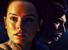Rey And Kylo Ren from Star Wars The Last Jedi by petnick