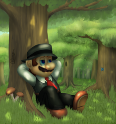 Fedora Mario - In the Forest by DarkyBenji
