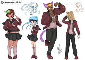 Character Designs for a future game by Meloewe