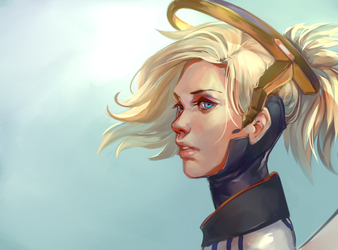 Fan-Art to Mercy from overwatch game by Balnur