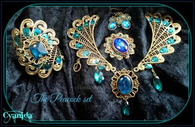 Victorian steampunk Peackock jewelry Full Set by Cyanida