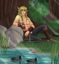 Commission - Resting in the forest by Webmegami