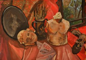 still life with head by gold-paroles