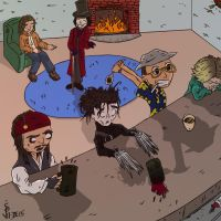 Johnny Depp at the bar by redknifewielder