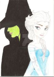 Elsa and Elphaba (Wickedly talented Adele Dezim) by NickTheDragonTrainer