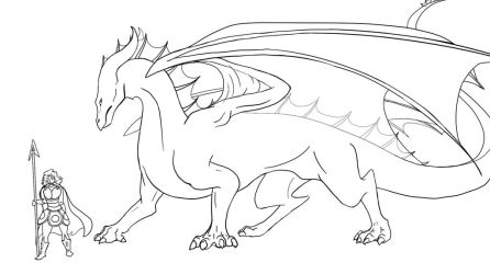 Veronica's dragon - lineart by Scheq