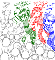 Doodle 1: RRB vs the fangirls by viannilla