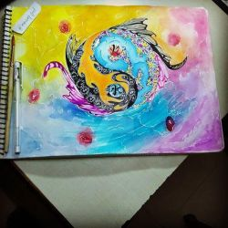 Yin Yang and koi fishes of fire and water by Umangbro