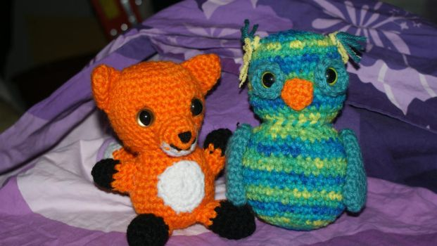 Foxy Hooters owl and fox amigurumi by WhimsicallyObsessed