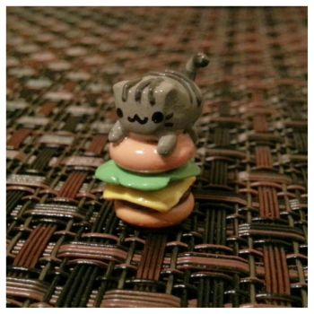 Pusheen Cat On a Hamburger by MightySkittles