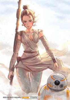 Rey and BB-8 [STAR WARS] THE FORCE AWAKENS by yagihikaru
