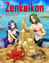 Zenkaikon 2017 Cover - Mermaids at the Beach by ghostfire
