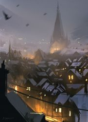 Snowy Rooftops (30min sketch) by daRoz