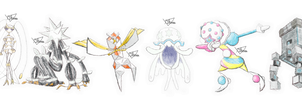Ultra Beasts - Crayon effect (real size) by The3Brawlers2014