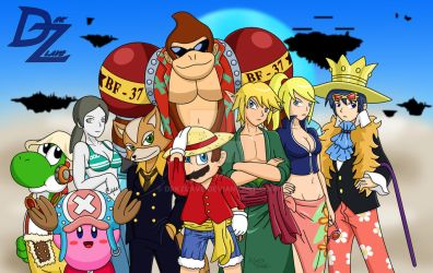 Super Smash Bros x One Piece by DrkZlave