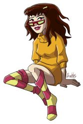 Hot Dog Water in an orange sweater by itswalky