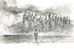 City in the fog by Silberius