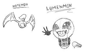 Sketches of my fan-made Digimonzzzzzzzz by DummyHeart