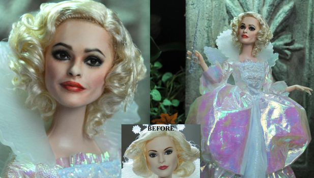 Helena Bonham Carter Fairy Godmother doll repaint by noeling