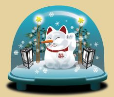 Lucky Cat in a Snowglobe by Designokee