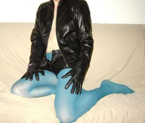 Teal Tights and Leather by TightsBoi