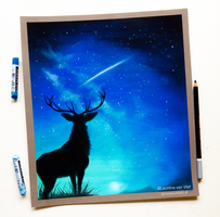 Deer by night, soft pastels on pastelmat by Tinesdierportretten