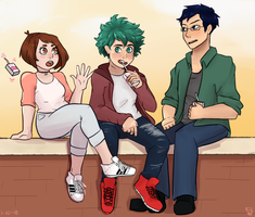 three bros chillin on a ledge by Paladinpeach