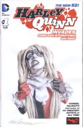 Harley Quinn sketch cover watercolor painting by smoothdaddyride