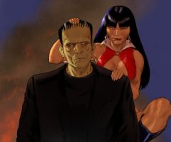 Hallowe'en 2015 - Vampirella meets Frankenstein by Nick-Perks