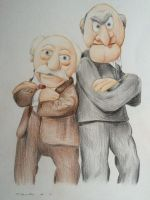 Waldorf and Statler drawing The Muppets by billyboyuk