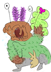 Angry Plant-Goat-Moth Monster and His Toy Rabbit by Koceta