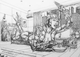 Catwoman   Milk for the Kitty by leandro-sf