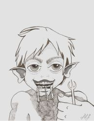 Inktober2018 Day 6 Drooling by GypsieOtterAnime
